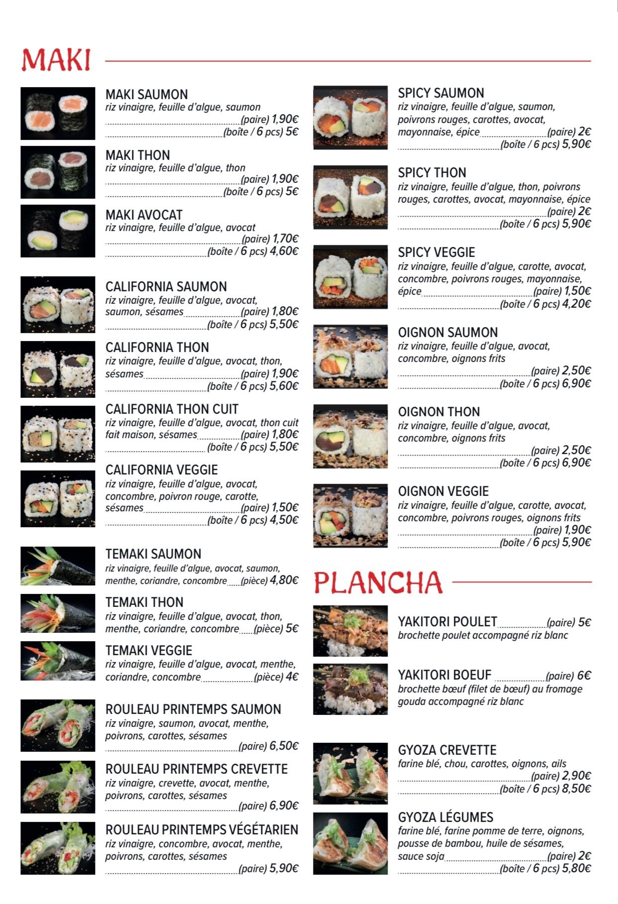 Carte An Sushi